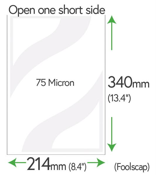 340mm x 214mm Clear Pockets (Foolscap) 75 Micron