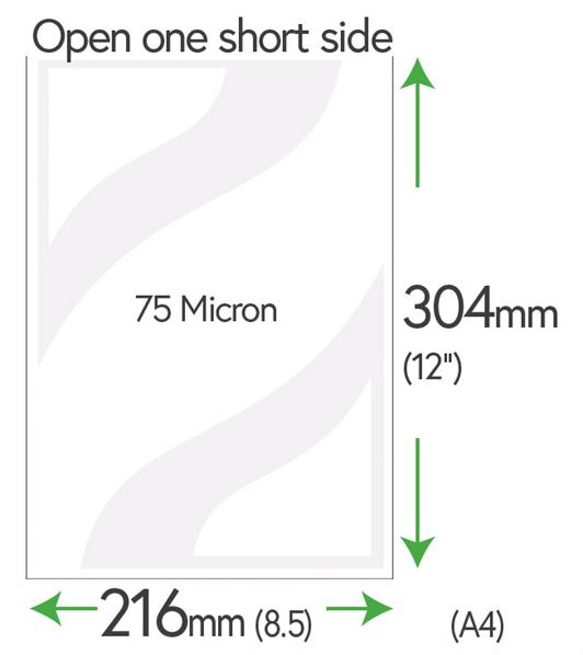 304mm x 216mm Clear Pockets (A4+5mm) 75 Micron