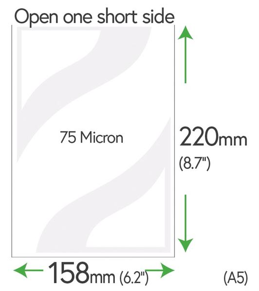 220mm x 158mm Clear Pockets 75 Micron (A5)