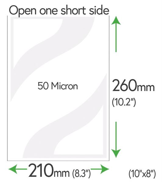 "260mm x 210mm Clear Pockets 50 Micron (10"" x 8""+5mm)"