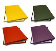 Archival boxes, yellow, green, red, purple