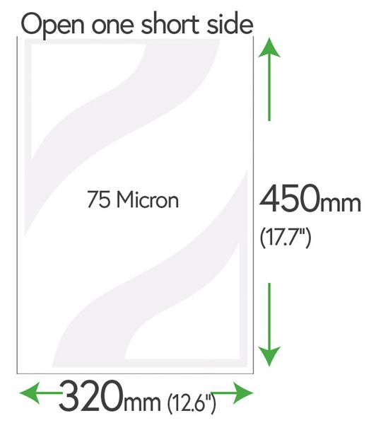 450mm x 320mm Clear Pockets (newspaper) 75 Micron