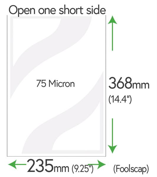 368mm x 235mm Clear Pockets 75 Micron (Foolscap + 10mm)