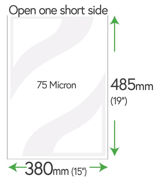 485mm x 380mm Clear Pockets 75 Micron