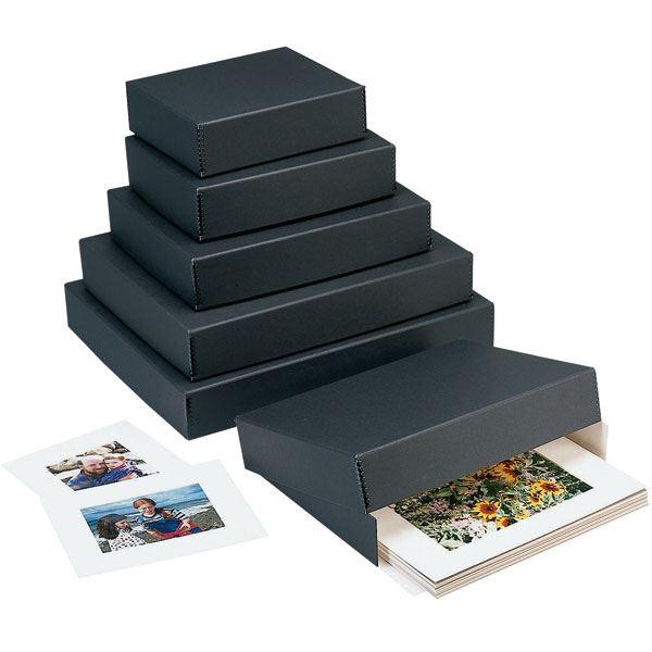 Drop Front Print Storage Boxes Matt Black