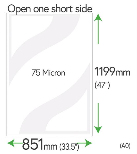 1199mm x 851mm Clear Pockets (A0 +10mm) 75 Micron Polyester