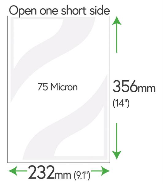 356mm x 232mm Clear Pockets 75 Micron